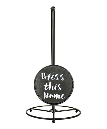 Boston Warehouse Black 'Bless This Home' Script Paper Towel Holder