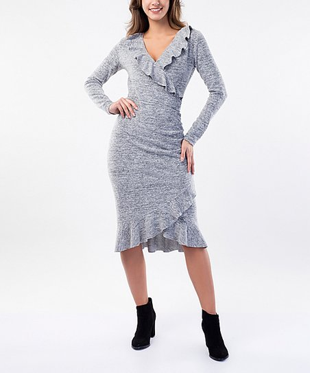 f23b1ea8698 love this product Gray Wool-Blend Ruffle-Layer V-Neck Sweater Dress - Women