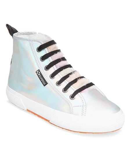 d19b7c2cb8dc love this product White Iridescent Faux Fur-Accent Leather Hi-Top Sneaker -  Women