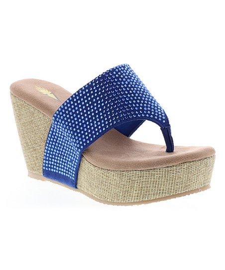 e3b08e039ffc Volatile Blue Rhinestone-Accent Andesa Wedge Sandal - Women