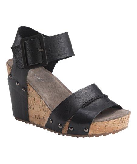 74b9867628f Antelope Black Leather Wedge Sandal - Women