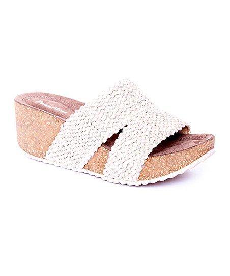 0e1fe4a7e4b2 Dolce Nome Beige Knit-Strap Nelly Platform Slide - Women