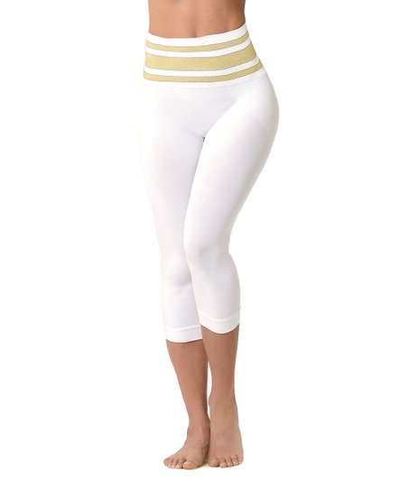 96b9c317e19ec love this product White & Gold Moderate Compression Capris - Women