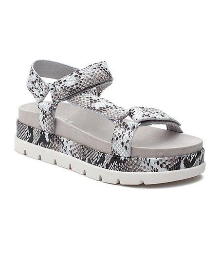 32dd915a307 J/Slides Black & White Snake Blakely Leather Sandal - Women | Zulily