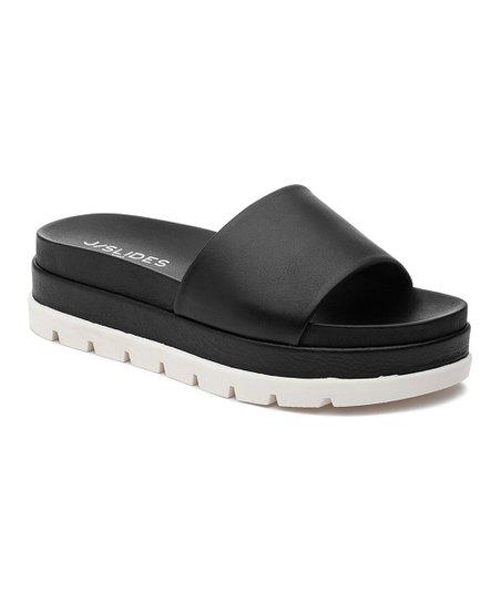J/Slides Black Bibi Leather Slide