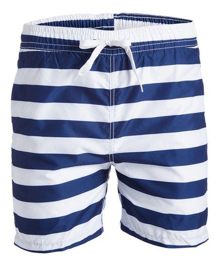 e440fbe22f8be Kanu Surf Navy & White Stripe Troy Swim Trunks - Men   Zulily