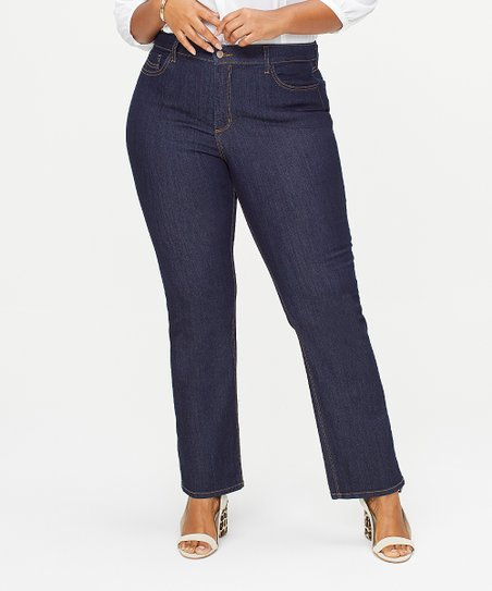 00a339c9d9d NYDJ Dark Enzyme Wash Marilyn Straight-Leg Jeans - Plus