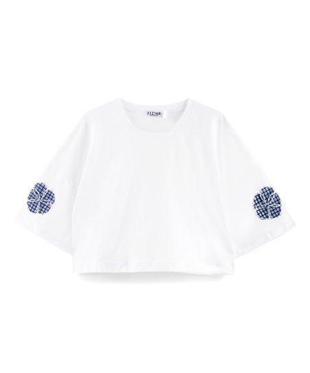 Ziztar White Ruffle Flower Crop Top Women Zulily