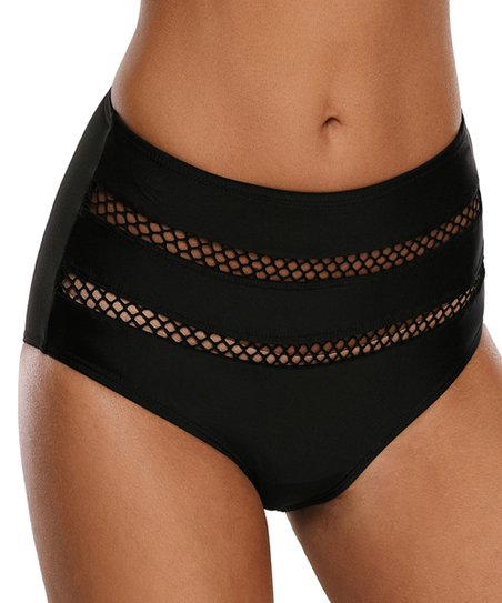 a1c28c5a43 love this product Black Fishnet-Accent High-Waist Bikini Bottoms - Women