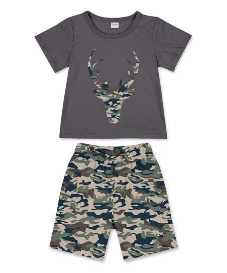 8f65ccaf1a5e PeppyMini Dark Gray Deer Tee & Camo Shorts - Infant & Toddler | Zulily