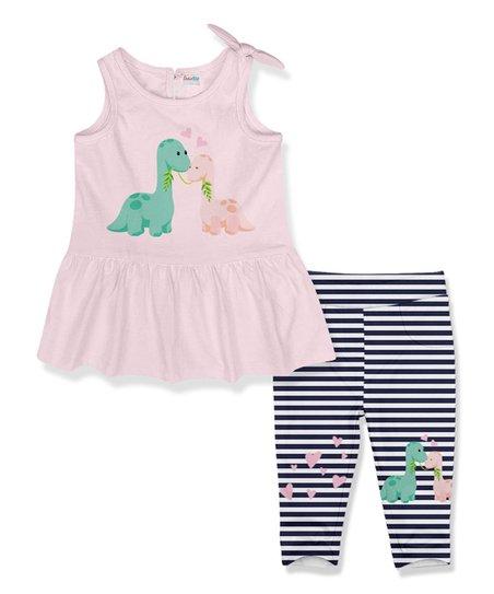 410fefa6431c9 PeppyMini Light Pink Dinos A-Line Dress & Navy Stripe Leggings ...