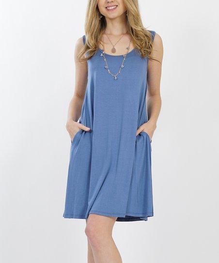 2dcee565a81 42POPS Denim Sleeveless Pocket Shift Dress - Women