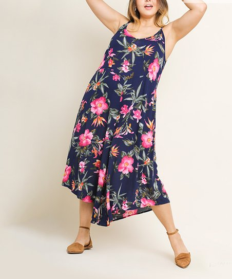 c63ad0203faf love this product Navy   Pink Floral Sleeveless Wide Leg Jumpsuit - Women    Plus