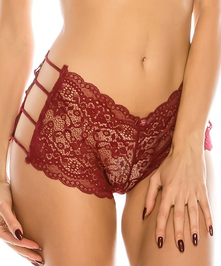Youmita Burgundy Caged Lace Hipster - Plus  eb1df08f5