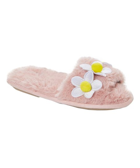 64f9996fc154 kensie Light Pink Daisy Faux Fur Slipper - Women