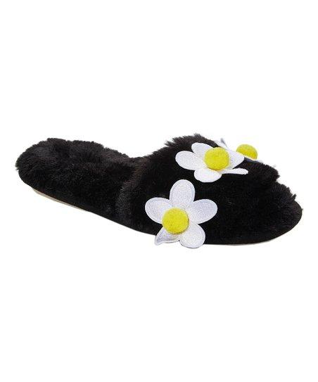 9b0fe17065a4 kensie Black Daisy Faux Fur Slipper - Women