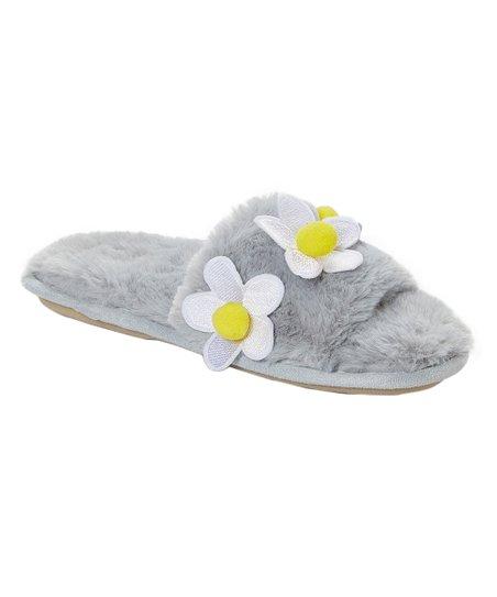 51b847579e69 kensie Gray Daisy Faux Fur Slipper - Women