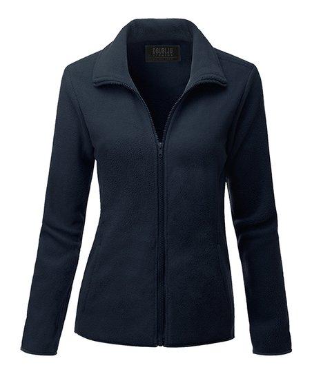 doublju navy zip up fleece jacket women plus zulily