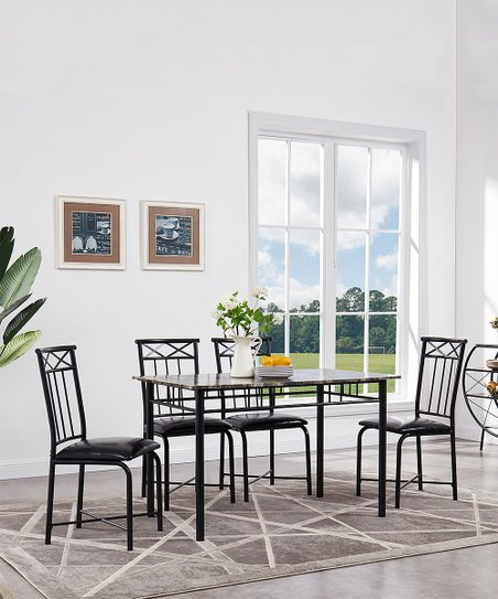 Marcal Black Metal Five-Piece Dining Table Set  e37d99cb39