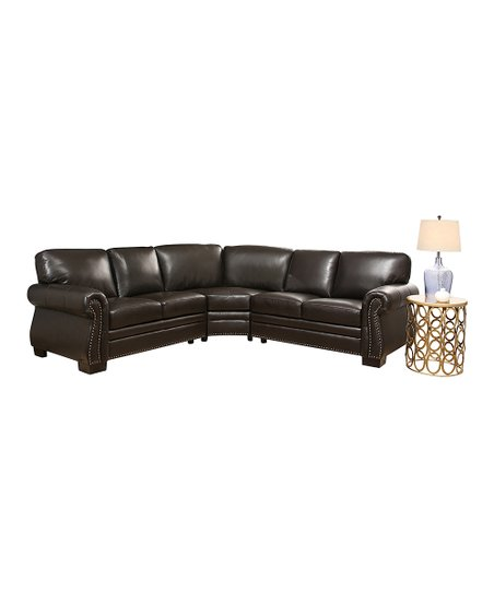 Brown Nailhead-Trim Leather Sectional Sofa   Zulily