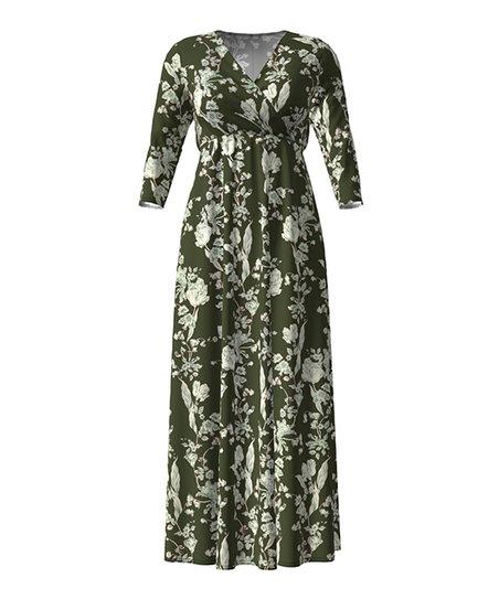 d926806584d love this product Green   White Floral Empire-Waist Maxi Dress - Women    Plus