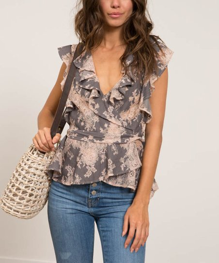 080f06297cd42c Lucy Paris Gray Floral Ruffle-Accent Wrap Top - Women