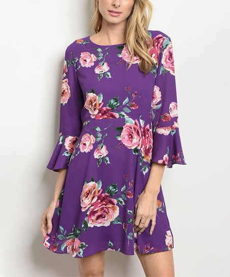 love this product Plum Floral Bell-Sleeve Skater Dress - Women 2e4be6442