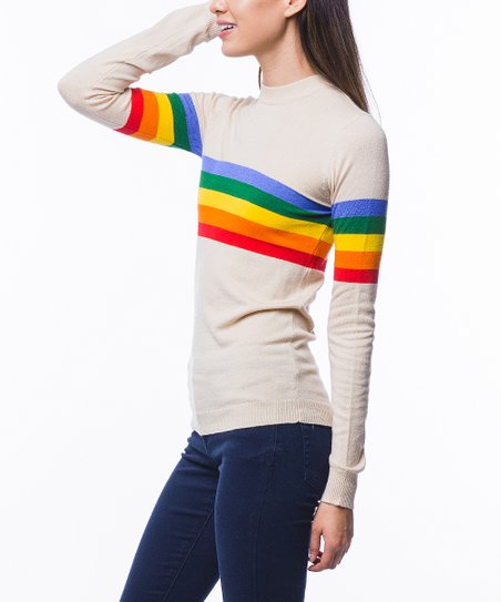 4bb3002835 love this product Taupe Rainbow Stripe Sweater - Women