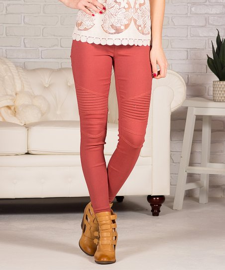 Pocket Marsala Moto Jeggings   Women by Contagious