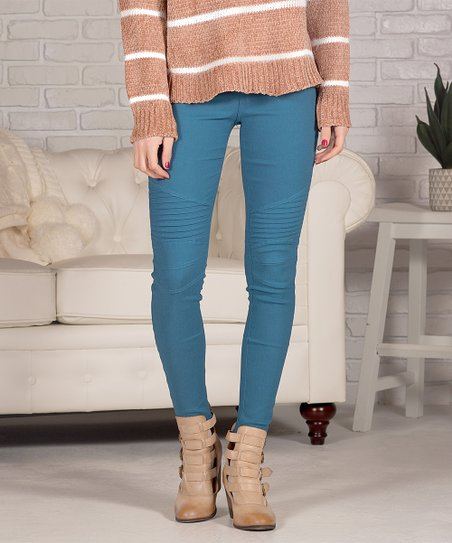 Teal Pocket Moto Jeggings   Women by Contagious