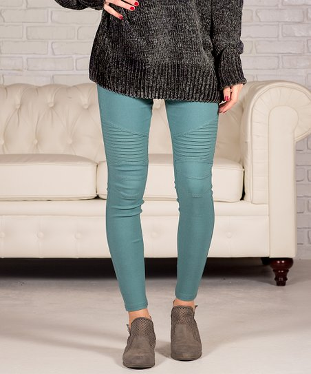 Sea Blue Pocket Moto Jeggings   Women by Contagious