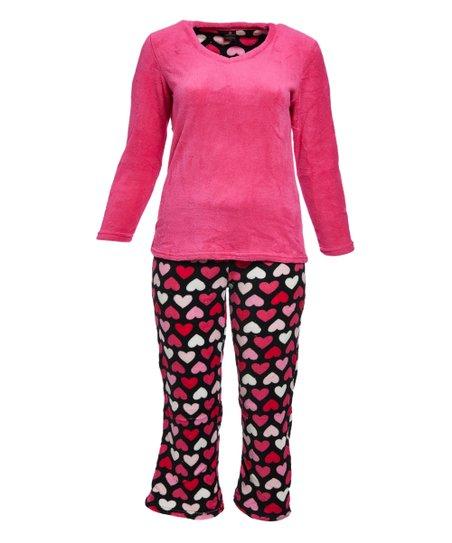 b39bef3f7b1a Donna L oren™ Pink Hearts Fleece Pajama Set - Women