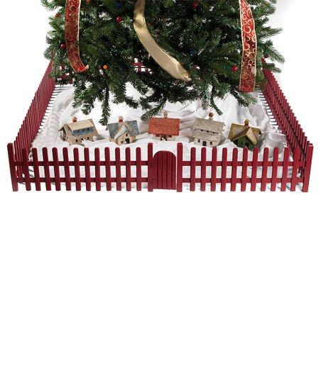The Wooden Skirt Red Wooden Fence Christmas Tree Skirt
