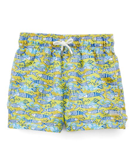2e4769efdc Azul Swimwear Yellow Portuguese Fish Swim Shorts - Boys | Zulily