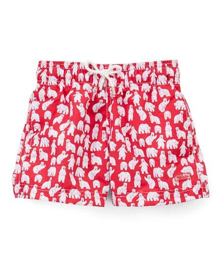 8341c75adb Azul Swimwear Red Polar Bear Swim Shorts - Toddler & Boys | Zulily
