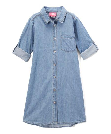 ff8f2f4b6d Girls Luv Pink Light Blue Denim Shirt Dress - Girls