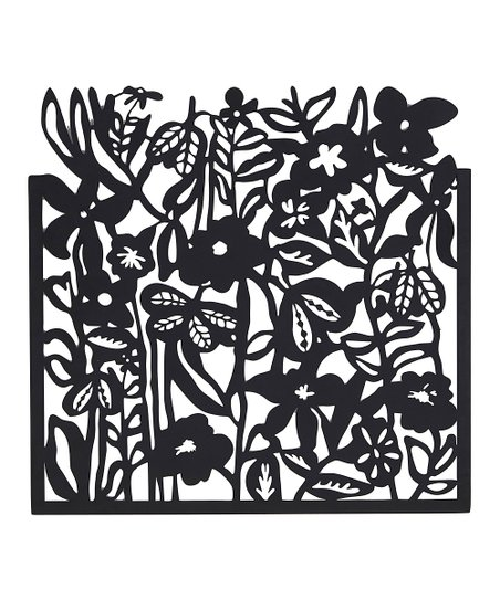 Black Flower Stems Cutout Wall Décor