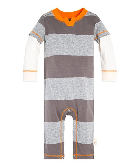 04f3527c6 Burts Bees Baby Charcoal Rugby Stripe Layered Jumpsuit - Infant