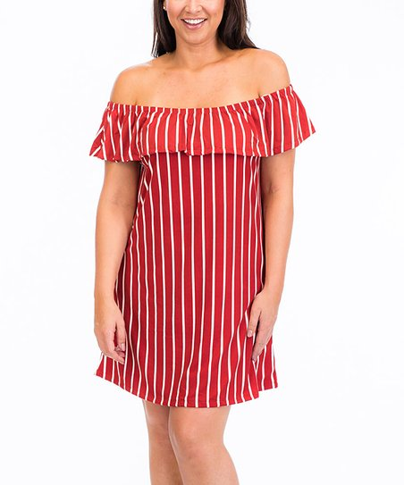 0b4a0154995d love this product Rust   White Stripe Ruffle Off-Shoulder Dress - Plus