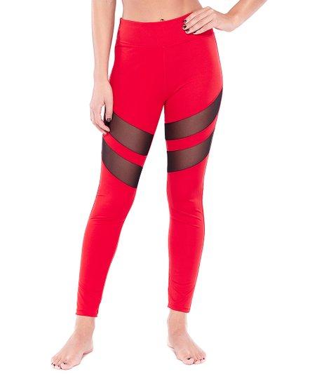 Red Tummy Tuck Mesh Racer High-Waist Leggings - Women