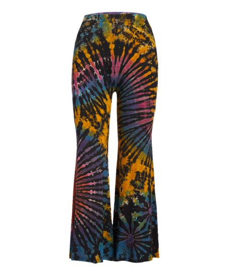 ac761f22c7 The Collection Royal Black & Rainbow Tie-Dye Yoga Pants - Women | Zulily