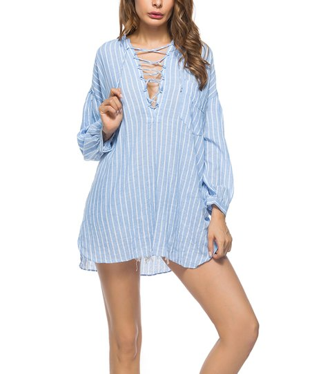 766afce4d34d1 love this product Blue   White Pinstripe V-Neck Top - Women