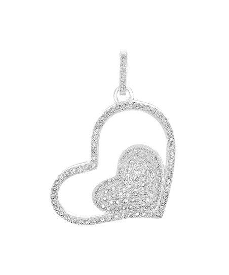 Fine Jewelry Sterling Silver Heart Cz Pendant Lustrous