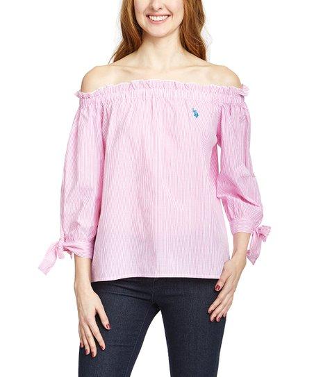 b5fd9e633a1 U.S. Polo Assn. Pink Stripe Off-Shoulder Top - Women | Zulily