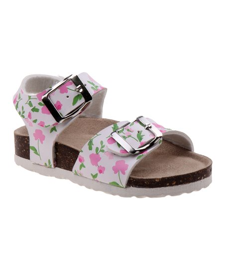 bd8bfc97e4e love this product White   Pink Floral Ankle-Strap Sandal - Girls