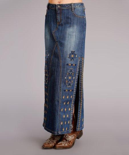 df778199d4 Roper Blue Embroidered Five-Pocket Denim Maxi Skirt - Women | Zulily