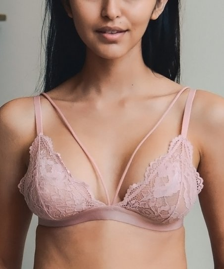 b6d84522b1510 Body Bows Gray Rose Lace Strap-Accent Bralette