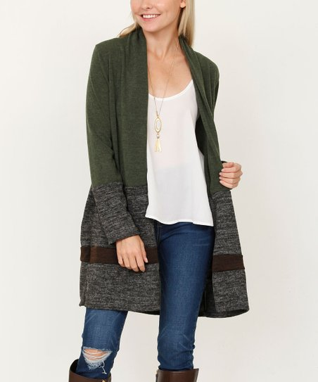 fe2b144cc018b love this product Olive & Gray Color-Block Open Cardigan - Women & Plus