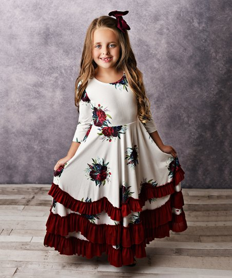 c9cdfa26c21b love this product Wine & Ivory Floral Ruffle Long-Sleeve Maxi Dress - Girls
