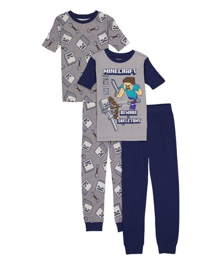 6794c3323896 Minecraft Gray   Navy Beware of Skeletons Four-Piece Pajama Set ...